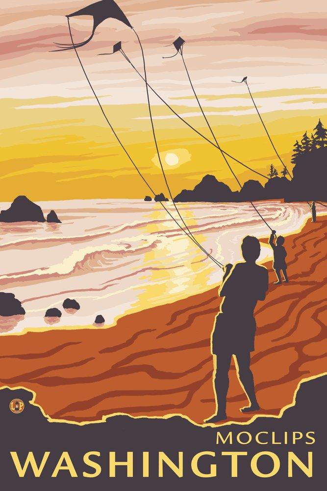 ビーチと凧 – Moclips、ワシントン 36 x 54 Giclee Print LANT-14527-36x54 B017EA09G8  36 x 54 Giclee Print