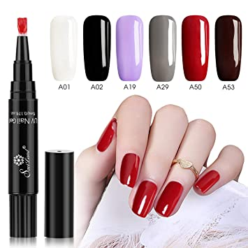 43826db37e Amazon.com : 6 Colors Gel Nail Polish Pen Set, Saviland Soak Off UV LED Nail  Varnish Lacquer Nail Art Kit (White Black Red Brown) : Beauty
