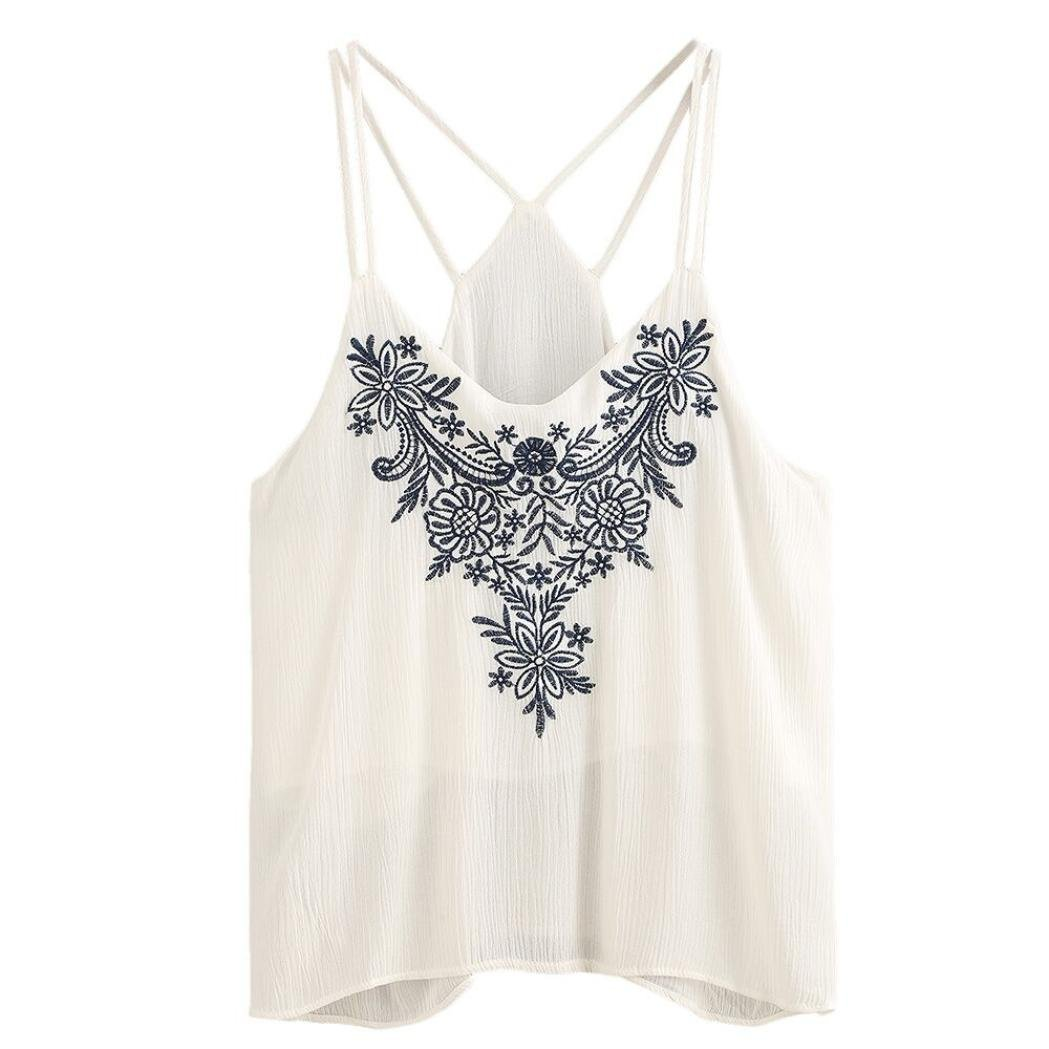 70af77c65b9e3 Amazon.com  Spaghetti Strap Crop Top - Anxinke Women Embroidered White Cami  Tank Top  Clothing
