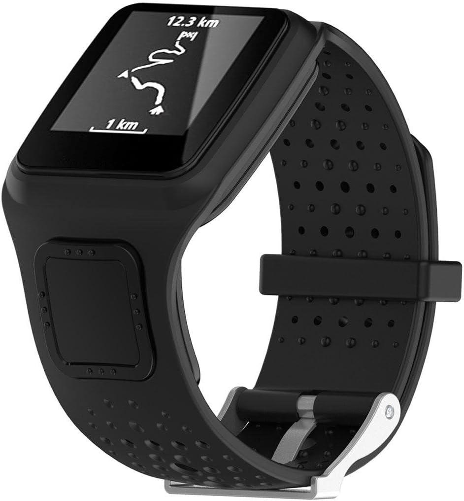 Teepao Correa de Repuesto para Tomtom, Correa de Silicona Suave, Correa de Reloj para Tomtom Multi-Sport GPS HRM Cardio Activity Tracker Tomtom Multi-Sport Cardio Watch y más