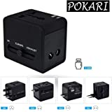 POKARI™ Universal International Travel Adapter 2 Port/USB Wall Charger Worldwide AC Outlet Plugs for Europe, UK, US, AU, Asia Black,Universal Travel Adapter fit for Over 150 Countries All in one.