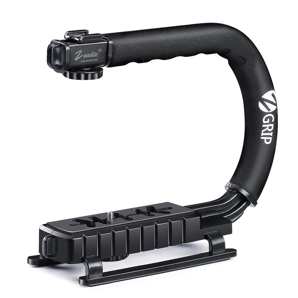 Zeadio Metal Triple Hot-Shoe Mounts Handheld Stabilizer, Video Action Handle Grip for Canon Nikon Sony Panasonic Pentax Olympus DSLR Camera/Camcorder DV-TGRIP