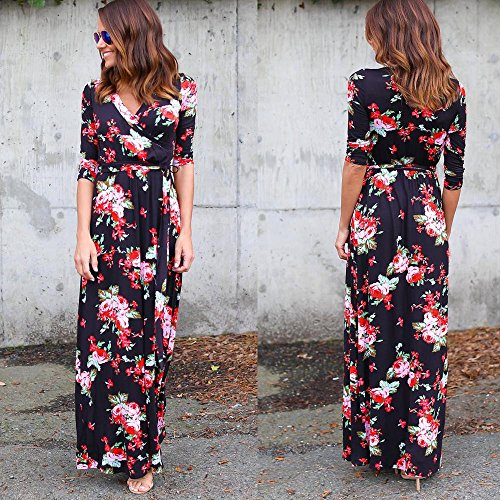 Culater® Femmes V Neck Boho Long Maxi soirée Beach Party Robe Florale Robe d'été