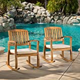 Sadie Outdoor Acacia Wood Rocking Chairs with Cushion (Set of 2) For Sale