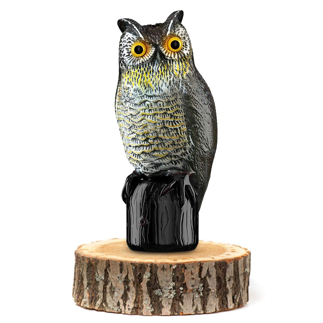 Premium Bird Repellent Fake Owl Decoy for Garden 16 in. tall - Motion Activated & Solar Powered Scarecrow Diverter - Flashing Eyes & Frightening Sound - For Birds, Mice, Squirrels, Rabbits & more by BRITENWAY