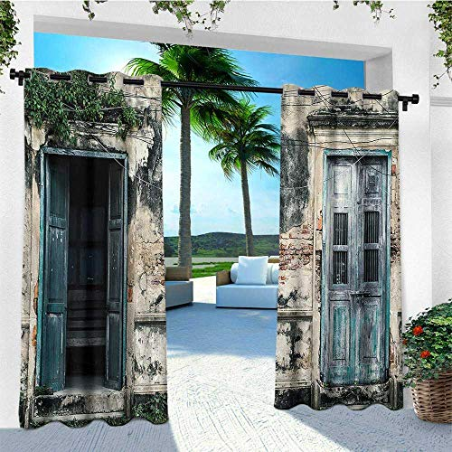 leinuoyi Rustic, Outdoor Curtain Set of 2 Panels, Doors of Old Rock House with French Frame Details in Countryside European Past Theme, Fabric W120 x L96 Inch Teal Grey