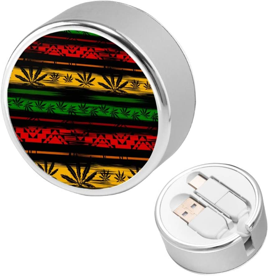 Round USB Data Cable Can Be Charged and Data Transmission Synchronous Fast Charging Cable-Green Jamaica Abstract from Marijuana Cannabis On Rastafarian Colors Jamaican Charging Cable