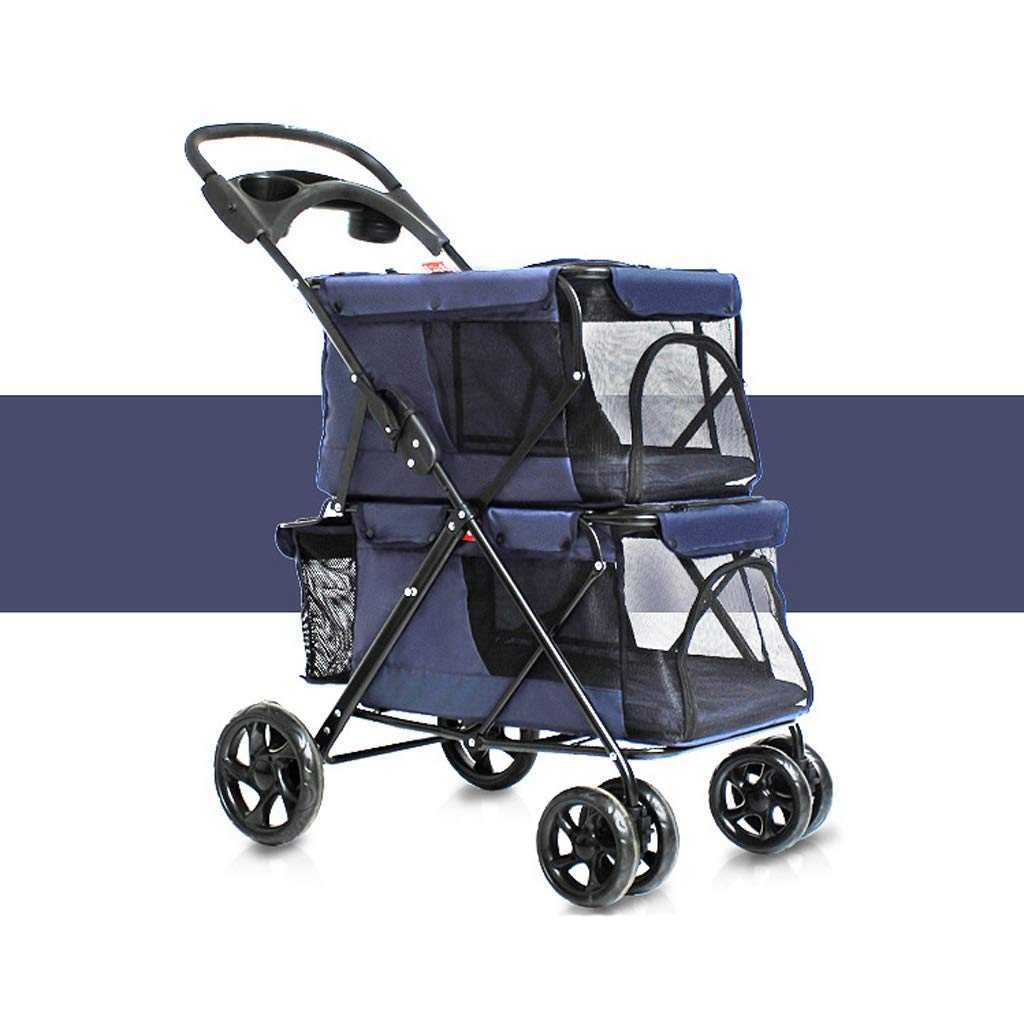 C GMT Pet Stroller, Pet Carrier, Dog cat Easy Folding Double Pet Trolley Dogs Big Space Carts Four Rounds of Outdoor Travel Supplies (79  52  105CM) (color   C)