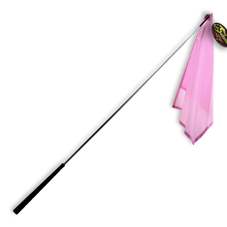 Southwestern Equine 48'' Training Flag Horsemanship Flag Horse Lunging Training Stick Silver Shaft and Nylon Flag (48'', Pink)