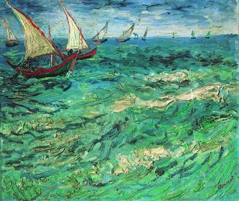 Oil Painting 'Vincent Van Gogh-Fishing Boats At Seas,1888', 24 x 28 inch / 61 x 72 cm , on High Definition HD canvas prints is for Gifts And Bar, Bath Room And Dining Room Decoration, (Euro Style Cosmopolitan Bath)