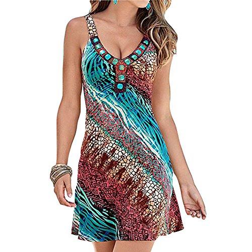 Mode Kleider für Damen - Blumenmuster Mini Kleid Sexy Ärmellos Rückenfrei Dresses Kleider Tops für Strand Urlaub Grün