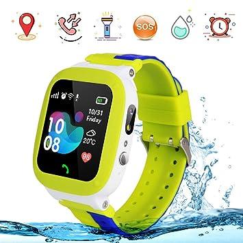 Reloj Inteligente para Niños Teléfono LBS Tracker Relojes Inteligentes Relojes con Alarma de Flash SOS Regalo de Cumpleaños Juguetes para Niños Niñas ...