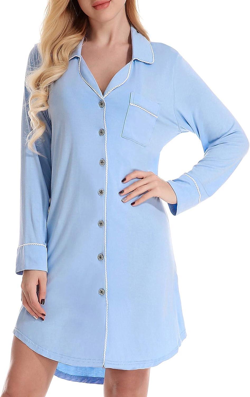 Ekouaer Womens Half Sleeve Pajama Top Buttom Down Sleep Shirt Dress Solid Nightgown