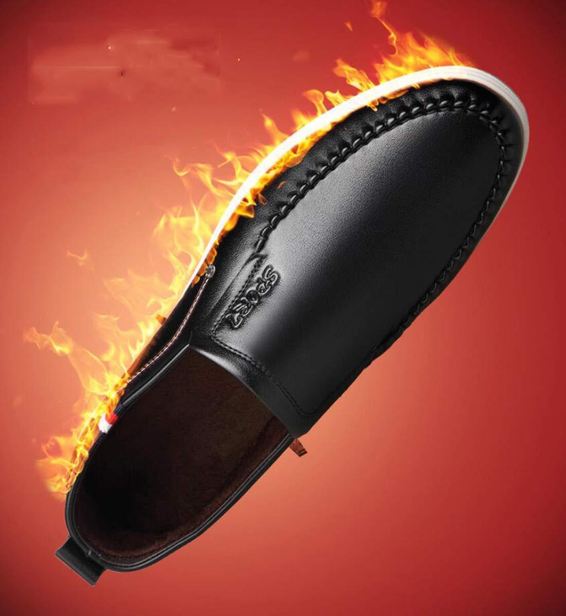 DANDANJIE Herren Freizeitschuhe Slip On Lederschuhe Winter Warm Low Low Low Top Driving Schuhe Rutschfeste Müßiggänger Schwarz,schwarz,41EU  232c0a