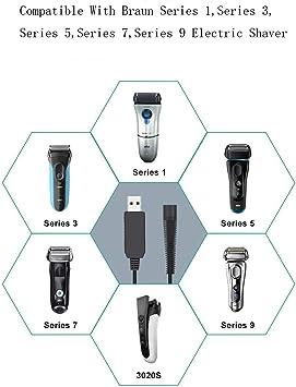 Cable de alimentación USB de 12 V para maquinilla eléctrica Braun Series 1, 3, 5, 79, 3020, 3080, S,760CC, 790CC, 340s, 190s, 5190 cc, 5210, 9095 cc.: Amazon.es: Salud y cuidado personal