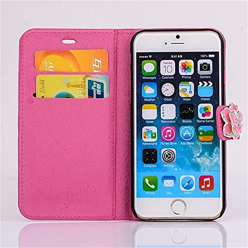 Iphone 6 Phone Case Borch Luxury Pu Leather Fashion Wallet Type Camellia Magnet Design Flip Stand Case Cover for Iphone 6 4.7 Inch Borch Screen Protector (Rose Red)