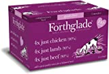 Forthglade 100% Natural Dog Food Grain Free Complementary Wet Dog Food Just 90% Meat Variety Pack 395g (12 Pack)