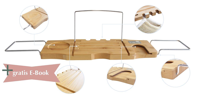 Sarenius Bambus Badewannentablett – Badewannenablage mit Buchstütz und Weinglas-Halterung – 74 cm -94.5cm – Anti-Rutsch-Beschichtung Premium Spa. Sarenius GmbH