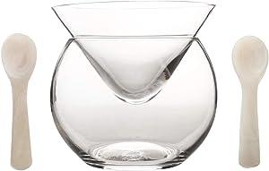 DUEBEL Glass Caviar Chiller Server Set Plus 2 pcs. x Mother of Pearl Caviar Spoon 3.15