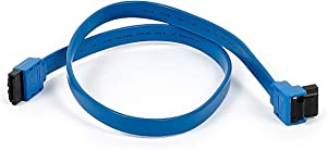 Monoprice 18-Inch SATA III 6.0 Gbps Cable with Locking Latch and 90-Degree Plug - Blue