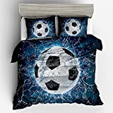 King Size Bed Measurements in Feet Jameswish Bedding 3D Football Duvet Cover Sets For Kids Thin Breathable Polyester Bed Linen For Summer 3-Piece Including 1Duvet Cover 2Pillowshams King Queen Full Twin Size