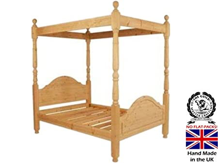 Heartland Pine Solid Pine Four Poster Bed frame, Handcrafted & Waxed ...