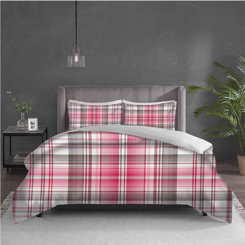 GUUVOR Checkered 3-Pack (1 Duvet Cover and 2 Pillowcases) Bedding Abstract Designed Celtic Repeating Motif in Vibrant Pink Modern Display Polyester (Queen) Taupe Pink White