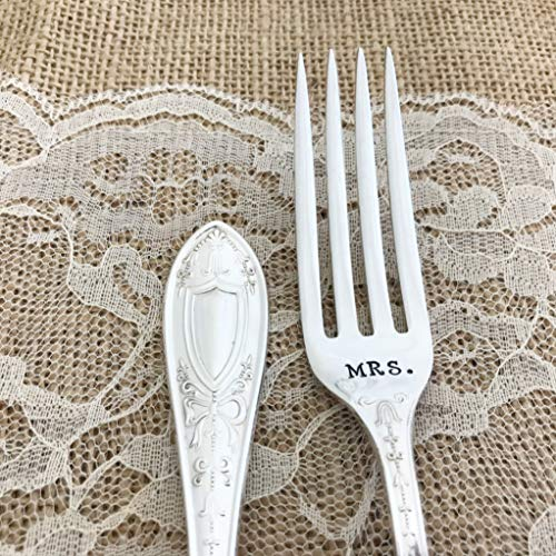 Mr. & Mrs. Set of vintage silver-plated hand stamped forks, Queen Helena dinner