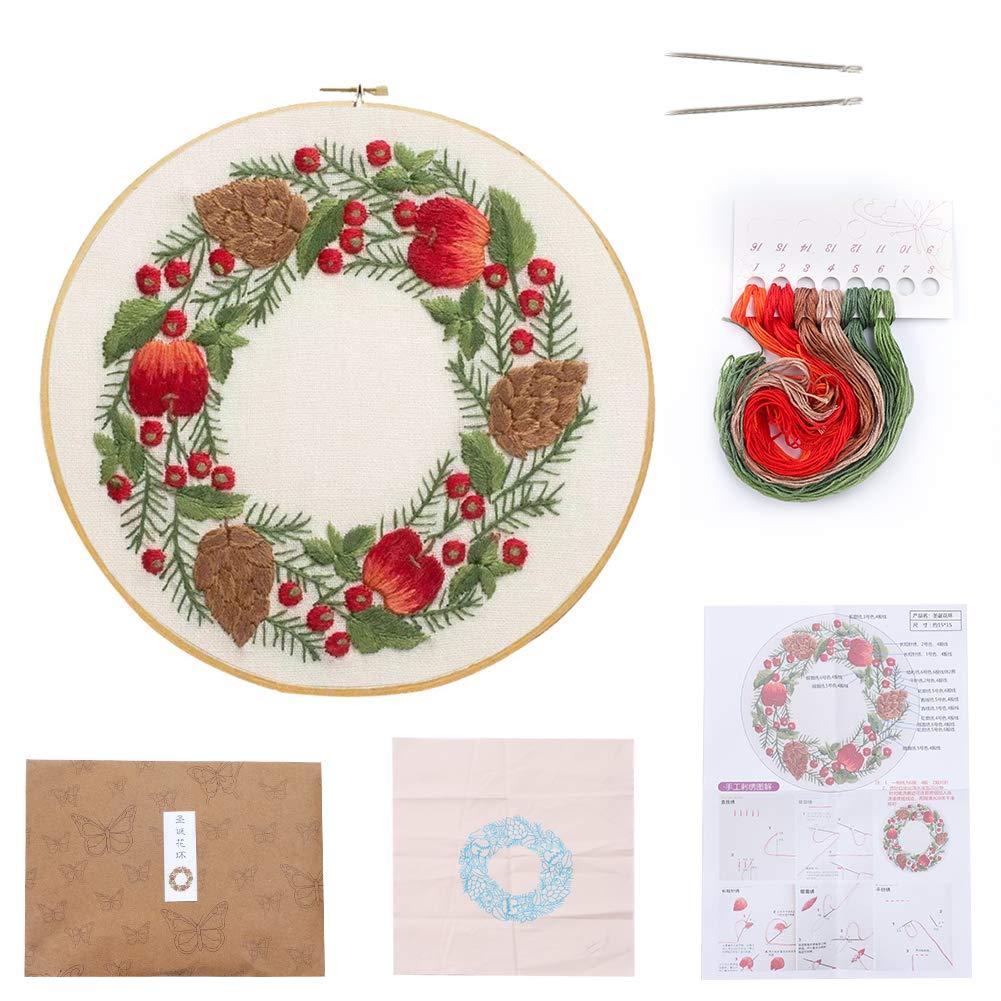 multicolore Christmas Wreath per principianti gamma completa di kit di ricamo natalizio con motivo a punto croce Kit di base per ricamo