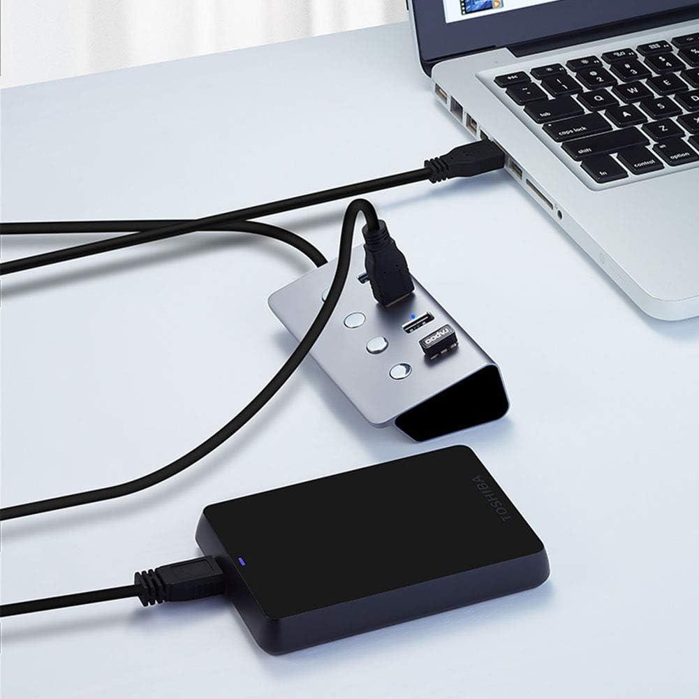 ALEPG 4-Port 3.0 USB Portable Aluminum Hub with 4 Individual Power Switches and LED Work Lndicators,for MacBook iMac Surface Pro,aa Mac Pro//Mini