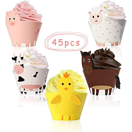 Amazon Com 45pcs Farm Animal Cupcake Wrappers Toppers For Baby