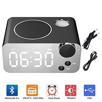 Amazon.com: Reloj despertador FM Radio Bluetooth Altavoz ...