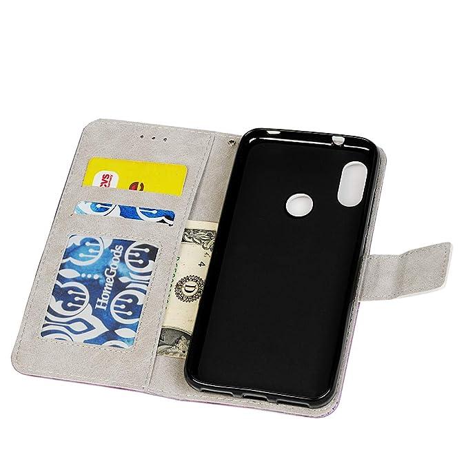 Funda Carcasas Xiaomi Mi A2 Lite, Delgada Piel Libro Suave Flip Cover PU Leather Protector Cuero Impresión Carcasa Caso Concha Flor Gofrado 360 Grados ...