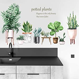 Green Potted Plant Wall Decal Nature Tropical Leaf Wall Sticker Art Murals for Bedroom Living Room Nursery Classroom Offices Home Decoration (Potted Plant)