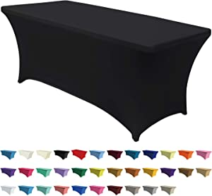 "ABCCANOPY Spandex Table Cover 4 ft. Fitted Polyester Tablecloth Stretch Spandex Table Cover-Table Toppers Black 48"" L x 30"" W x 30"" H"