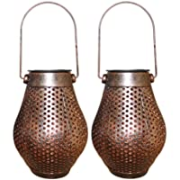 Mobestech 2pcs LED Solar Lantern Hollow Hanging Lantern Waterproof Lawn Lamp Decorative Candle Lantern (Bronze)