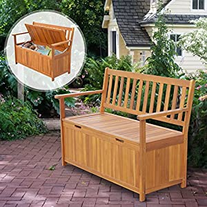 "Outsunny 47"" Wooden Outdoor Storage Bench with Removable Waterproof Lining"