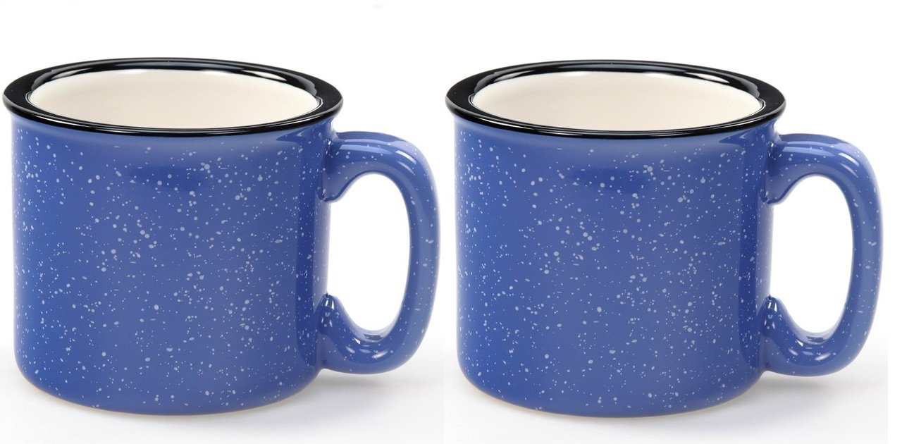 Santa Fe Campfire Coffee /& Tea Mug Perfect For Camping or Home Cobalt Blue 15 oz Pack of 2 Down To Earth