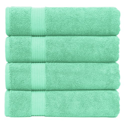 Cotton Paradise 2018 (New Collection) Luxury Hotel & Spa Collection Oversized 30x54 Extra Large Bath Towel Set, 100% Turkish Combed Cotton Organic and Eco Friendly, Set of 4 (Cyan Green) (Halloween Winter Park)