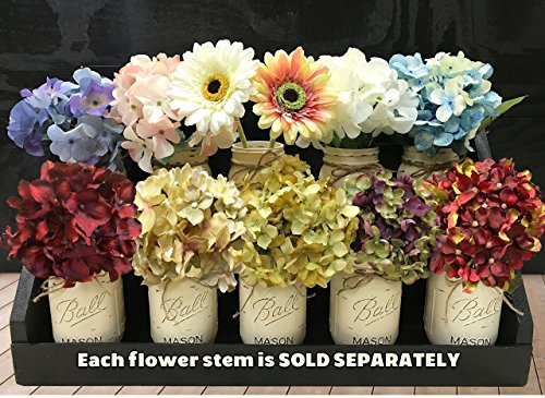 HYDRANGEA or GERBERA DAISY FLOWER to accessorize with our Handmade Mason Canning Pint Ball JARS in a Distressed Wood DRAWER *Make a beautiful CENTERPIECE arrangement with Silk Flower Stems