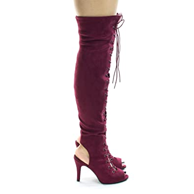bbba01d216 Fancy9 Wine Women Over Knee Corset Military Lace Up Boot, Over Knee & Peep  Toe