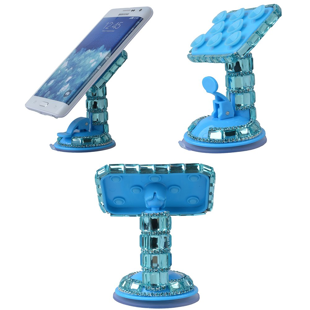 EVTECH(TM) Universal Luxury Transparent Colorful Bling Handmade Crystal Diamond Rhinestones Universal Multi-function Portable 360 Degree Rotating Suction Cup Mini Desk Car Mount Clip Stand Holder Car Windshield & Dashboard Mount for Smartphones Mobile