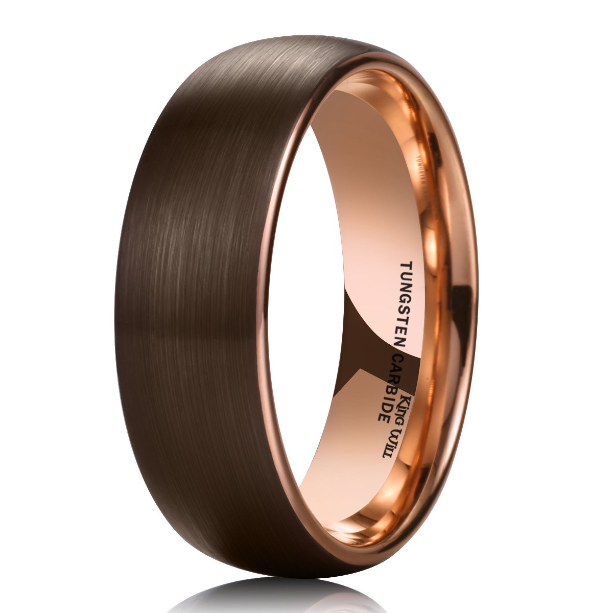 King Will DUO 8mm Dome Mens Brown Tungsten Carbide Wedding Band Ring Rose Gold Inside Comfort Fit 9