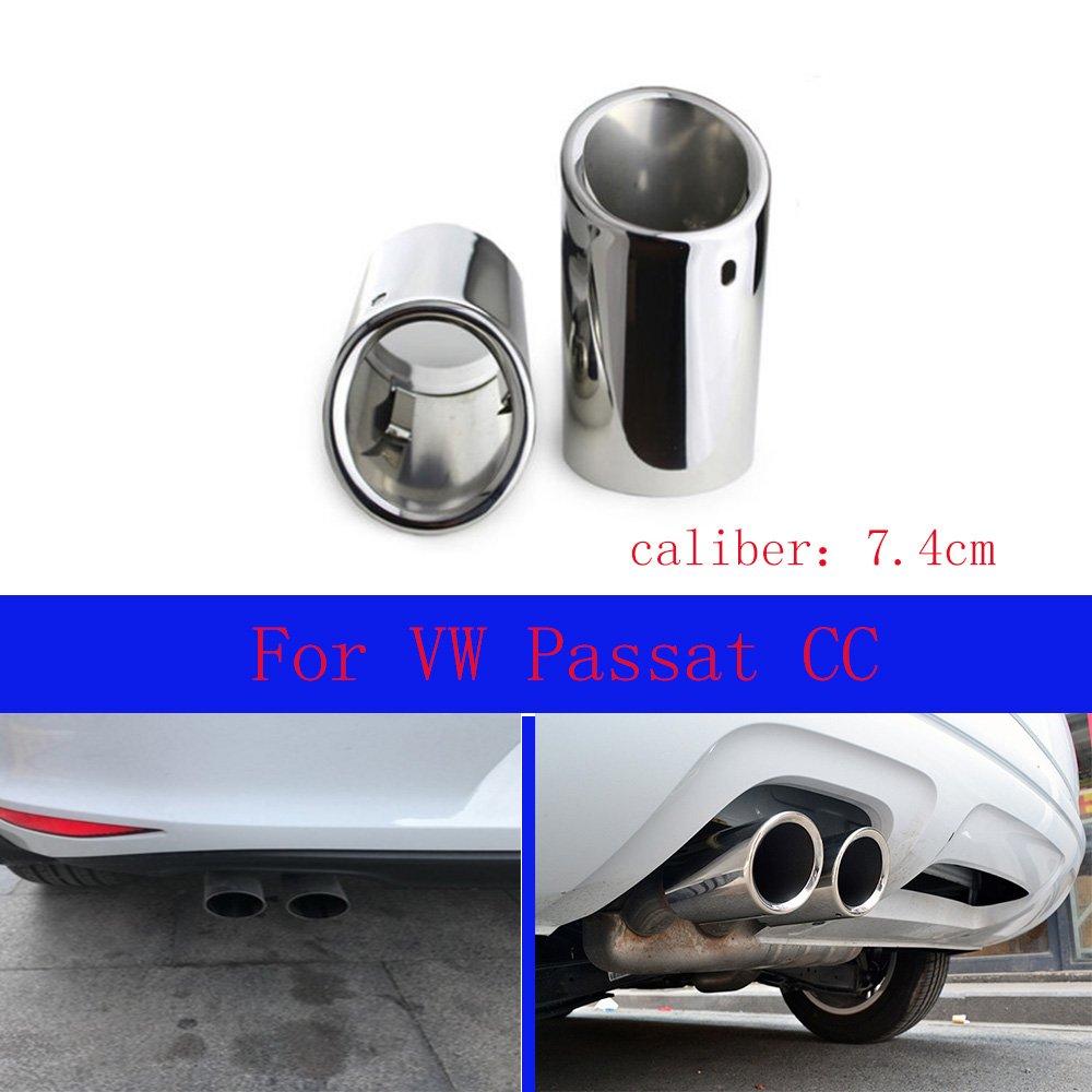 2 tubos de escape de acero inoxidable cromado para Passat CC 2012 2013 2014 2015 2016 2017 2018