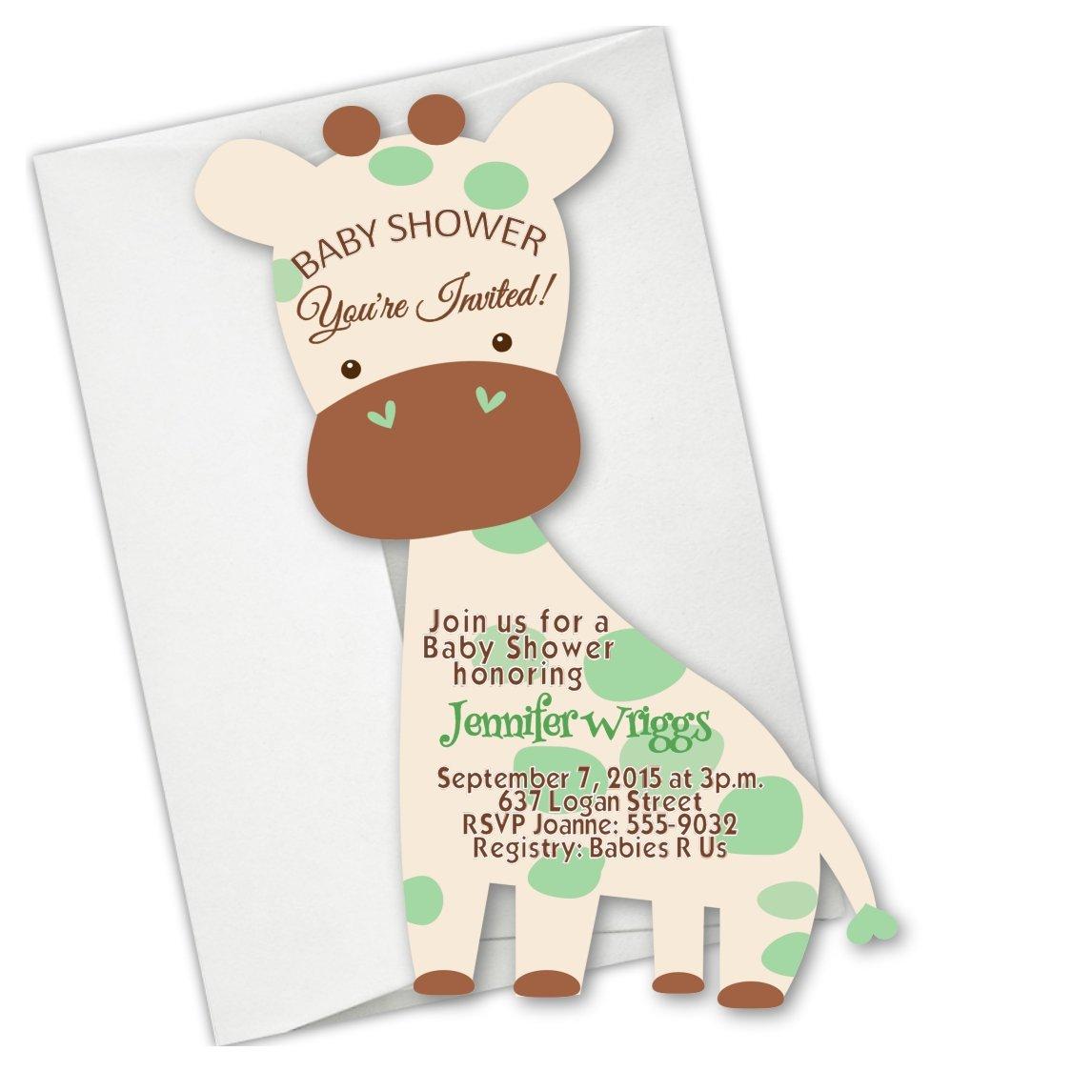 Giraffe Safari Jungle Die Cut Baby Shower First Birthday Invitations
