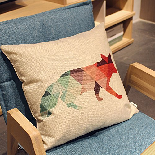 HIPPIH 4 Packs Square Pillow Cover - 16 X 16 Inch Decorative Throw Pillowcase, Geometric Animals by HIPPIH (Image #5)
