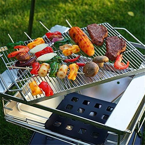 Grill Charbon Portable Acier Inoxydable 304 Épaissi Pliable Grill Barbecue Pique-Nique De Cuisson Démontable pour BBQ Extérieur Camping(42 * 39 * 39Cm)