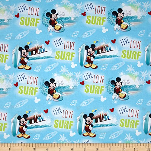 Disney Mickey Mouse Live Love Surf Blue Fabric by The - Fabric Hawaiian Shirt