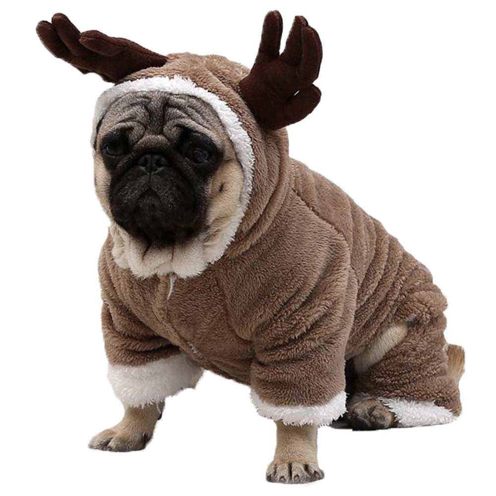 WORDERFUL Pet Xmas Costume Dog Reindeer Winter Clothes Cat Warm Elk Costume Pet Soft Coral Fleece Winter/Autume Coat with Hoodies (L) by WORDERFUL