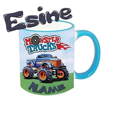 Tasse Monster-Truck + Name in 12 Farben möglich: Amazon.de: Bekleidung